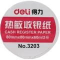 deli得力收银纸 3203  60克  80 * 80mm  单层  长度60m 热敏收银纸 2卷/包