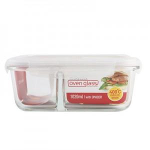 乐扣乐扣保鲜盒 分隔饭盒 630ml 长方形 429格拉斯微波炉专用碗耐热玻璃保鲜盒密封便当盒套装