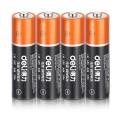 deli得力电池 AA5号电池 AAA7号电池 无汞碱性电池 4节/卡 10年保质期