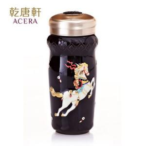 乾唐轩活瓷杯 皇家天马随身杯 350ml 双层 彩釉鎏金 01C543G