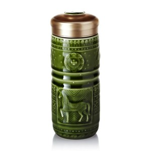 乾唐轩活瓷杯 皇家骏马随身杯 350ml 双层 手工彩釉鎏金 1A02G