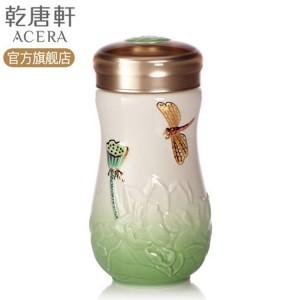 乾唐轩活瓷杯 蜻蜓夏荷随身杯 400ml/350ml 单层 手工彩釉手工彩绘 1A02B