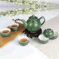 乾唐轩活瓷杯 蝴蝶兰花茶具 耀州绿 碧玺负离子 1壶6杯+茶海