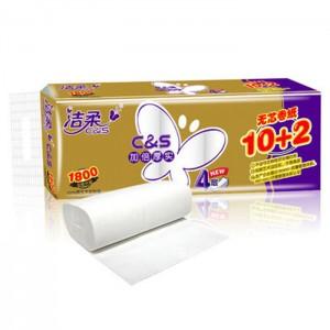 C&S洁柔无芯卷纸 4层100g 12卷/提 10提/箱 金尊自然无香型 无芯卷筒纸家用卫生纸